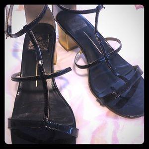 Used Dolci Vita chunky sandal heels. Black patent